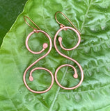 Heavy Gauge Hammered Copper Earrings
