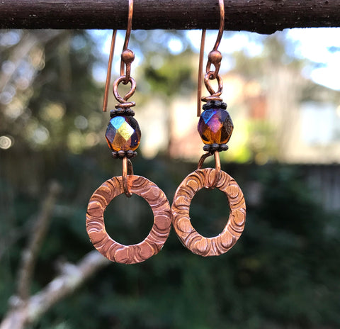Hand-stamped copper washer and Czech glass bead earrings