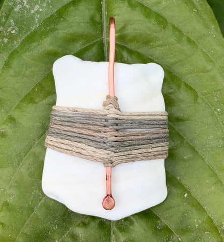 Seashell, Hemp and Copper Pendant