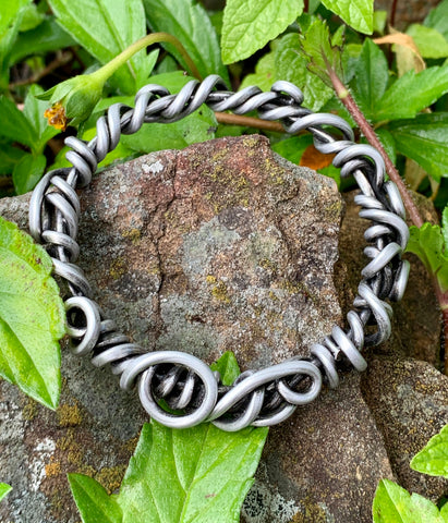 Heavy Gauge Antiqued Aluminum Swirls Bangle