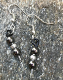 Black Enameled Aluminum Earrings with Gunmetal and Silver tone beads