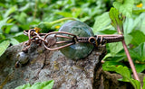 Moss Agate and Copper Adjustable bracelet