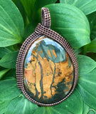 Beautiful Morrisonite Jasper Pendant wrapped in Copper