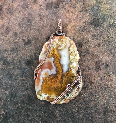 Colorful Tumbled Agate Slice in Copper
