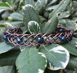 Braided Copper and Blue Glass Bead Bracelet
