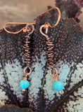 Twirled Copper and Turquoise Earrings
