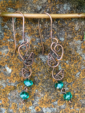 Copper Leaf and Crystal Earrings