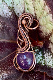 Round Amethyst In Square Copper Wire