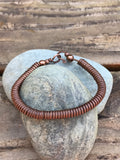 Handmade twisted and coiled copper bracelet - 7""