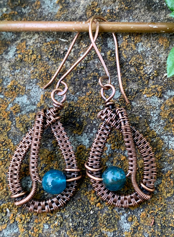 Brilliant teal blue Apatite and handwoven copper earrings on handmade copper ear wires.