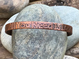 "Etched Copper Bangle - ""All You Need is Love"" - Adjustable"