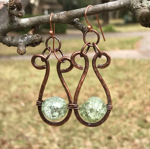 Hammered Copper and Crackled Green Glass Earrings