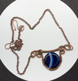 Blue Striped Agate and Copper Necklace