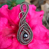 Woven Copper and Pearl Pendant