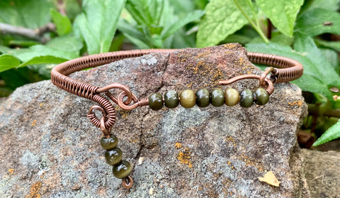 Green Cats Eye and Copper Bracelet