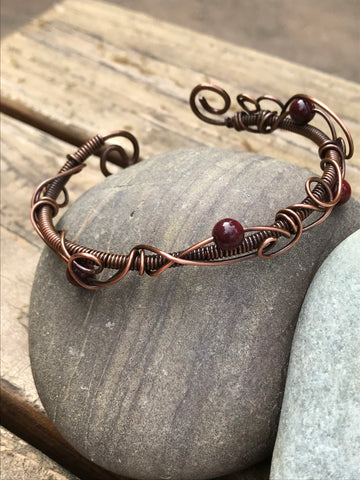Precious Mookaite and Copper Bangle - Adjustable