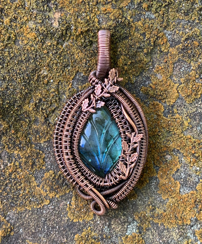 Striking Carved Labradorite Leaf Pendant wrapped in Copper