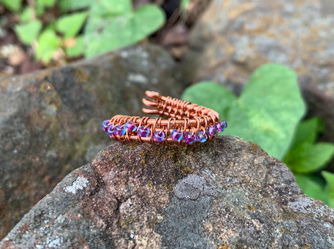 Woven Copper and Glass Seed Bead Ring - adjustable