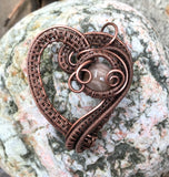 Dramatic Woven Copper Heart with Sunstone