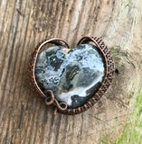 Beautiful Ocean Jasper Heart wrapped in copper
