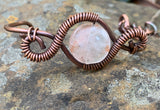 Strawberry Quartz and Copper Bracelet - adjustable