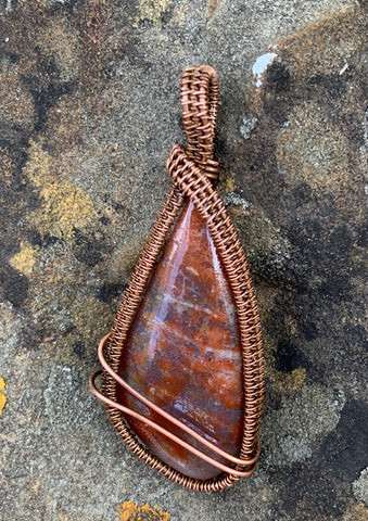 Rust colored Ocean Jasper wrapped in Copper