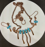Hammered Copper and Aqua Glass Necklace and Earring Set