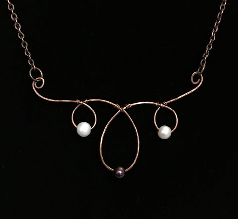 Hammered Copper and Pearls Necklace