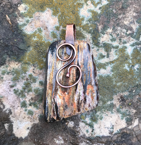 Reversible Tumbled Petrified Wood Pendant in Copper