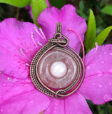 Shimmering Sunstone and Copper Pendant