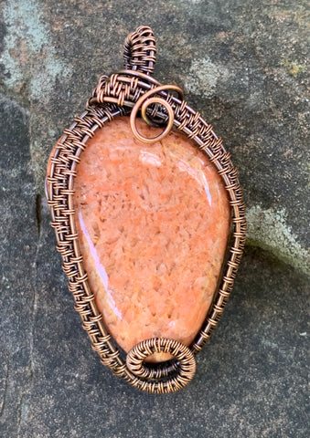 Tumbled River Rock/Feldspar wrapped in Copper