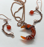 Carnelian Moon and Copper Pendant and Earring Set