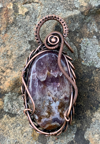 Amethyst Lace Agate Pendant in Copper