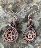 Woven Copper and Copper Gear Earrings