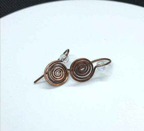 Lightweight Coiled copper and glass bead earring