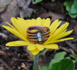 Copper Wrap-around Ring with Iridescent Glass Beads - size 9 -9 1/2