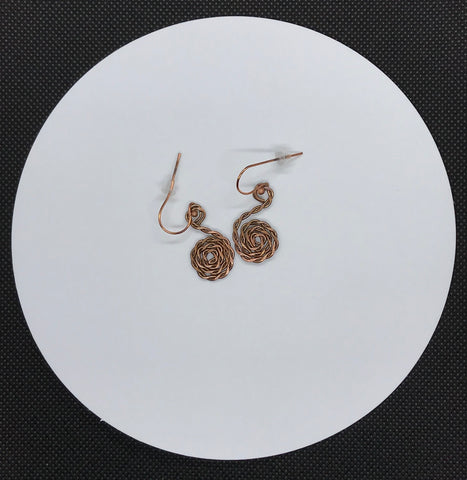 Hammered twisted Copper Spiral Earrings