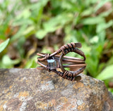 Hammered Copper and Square Crystal Ring - size 11