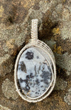 Quartz Pendant with Silver inclusions wrapped in Sterling and Fine Silver