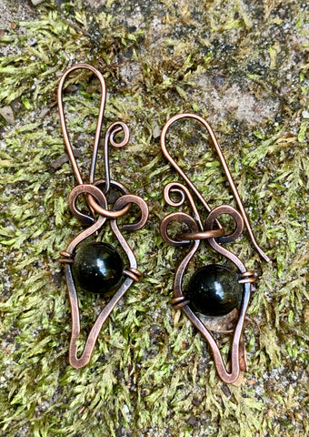 Golden Sheen Obsidian and Copper Earrings