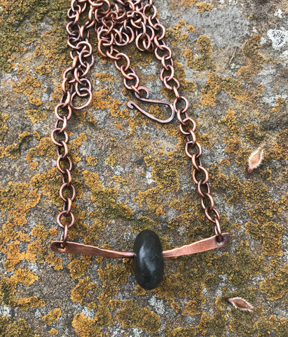 Rustic River Rock and Copper Necklace