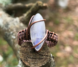 Moonstone and Copper Ring - size 9
