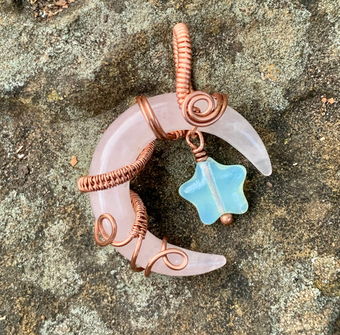Rose Quartz Moon Pendant with Opalite Star in Copper