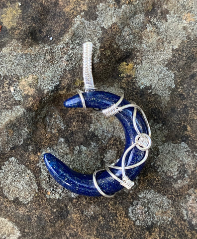 Lapis Moon in Sterling and Fine Silver