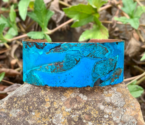 Blue Patinaed Copper Cuff Bracelet