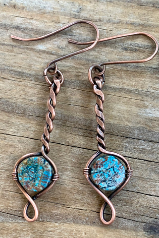 Twisted Copper and Calsilica Earrings