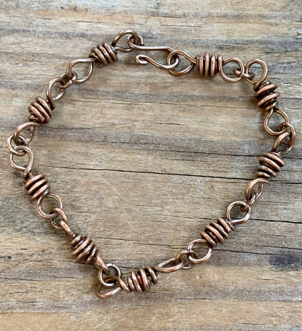 Hand formed copper links and clasp create a ready to wear anywhere bracelet!