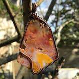 Vibrant Tumbled Agate Slice wrapped in Copper