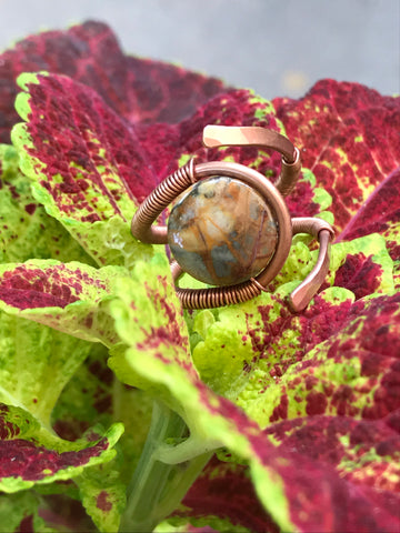 Venus Jasper and Copper Ring - adjustable