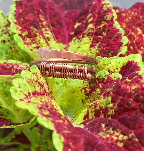Striking Hammered Copper Ring - size 7 1/2-8